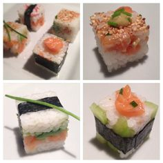 Sushi made with Rice-cube Healthy Japanese Recipes, Japanese Food, Cube Recipe, Sushi Art, Sashimi, Finger Foods, Brunch, Appetizers, Cooking Recipes