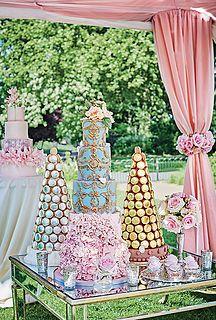 Pink luxury wedding cakes and Laduree macaron towers. Styling, Laura Burkitt for Brides magazine. Photography, Catherine Gratwicke