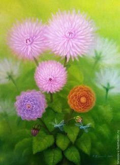 Buy Author's painting, Dahlias. - bright green, pink, purple, orange, white, dahlias, dragonflies