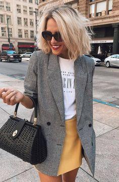casual style obsession   grey blazer + bag + tee + skirt Ropa De Moda 08ba3e308e4