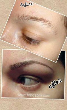 Fong Semi Permanent Markup by Yin Jeune. Jessica's eyebrow before and after semi-permanent makeup