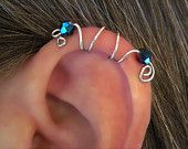 "Sterling Silver No Piercing Handmade Helix Cuff Ear Cuff ""Spiral Up"" 1 Cuff. $8.00, via Etsy."