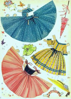 Umbrella Girls 1956* Christmas paper dolls The International Paper Doll Society Arielle Gabriel artist #QuanYin5 Twitter, Linked In QuanYin5 *