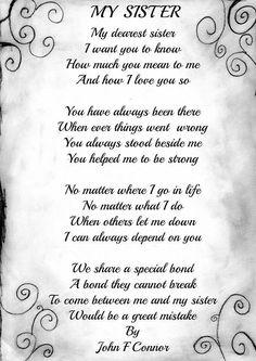 Personalised My Sister Poem Birthday Anniversay Leaving Christmas