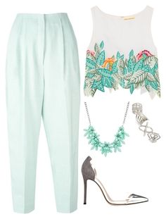 """""""Untitled #11056"""" by beatrizibelo ❤ liked on Polyvore featuring Delpozo, Mara Hoffman, sweet deluxe, Gianvito Rossi and Topshop"""