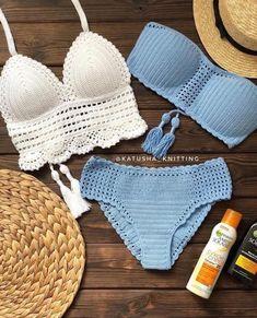 Crochet Bikini Pattern, Crochet Bikini Top, Crochet Blouse, Swimsuit Pattern, Débardeurs Au Crochet, Crochet Flower, Free Crochet, Knitted Swimsuit, Crochet Lingerie