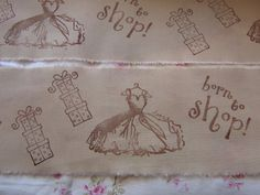 BORN to SHOP tea dyed hand stamped fabric trim by ThePeonyShanty, $4.85