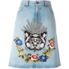 Light indigo cotton embroidered denim skirt from Gucci featuring a five pocket design, a button and zip fly, a waistband with belt loops, an embroidered floral…