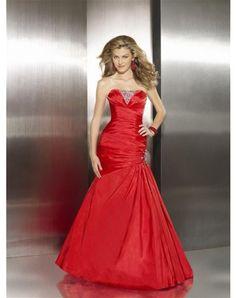 Pretty Mermaid Strapless Beading Sleeveless Floor-length Taffeta Prom Dresses