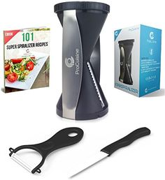 ProCuisine 6 in 1 Vegetable Spiralizer Bundle with Knife, Peeler, 101 Recipe eBook, Gift Box, 4 Blade Spiral Slicer, Black procuisine http://www.amazon.com/dp/B0196V9WCK/ref=cm_sw_r_pi_dp_dGnMwb1C9YHW9