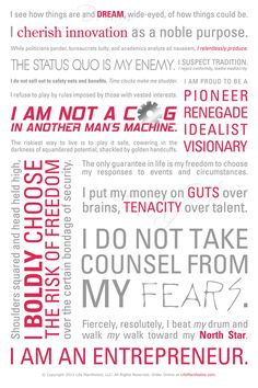 Entrepreneur Manifesto...once you read it you should be ready to conquer the world AGAIN! Let's get it!