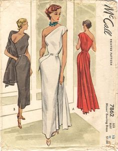 Late 1940s, panel can be belted behind or worn as attached wrap. McCall 7862 (1949)