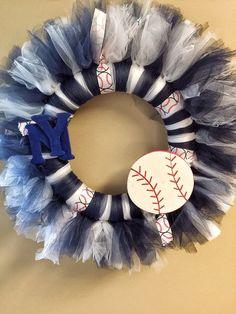 Whimsical New York Yankees baseball wreath - tulle - ribbon - NYY - blue - white
