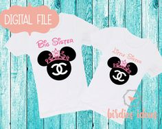 Big Sister & Little Sister Printable Iron On Transfer or Use as Clip Art - DIY Disney Shirts - 2 Matching Designs, Minnie , Princess Minnie by BirdiesIdeas on Etsy https://www.etsy.com/listing/450938630/big-sister-little-sister-printable-iron