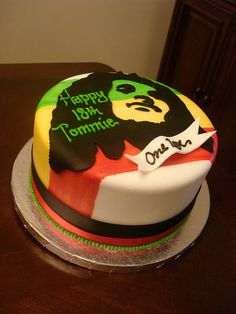 Bob Marley Birthday Cake With Hand Painted Background