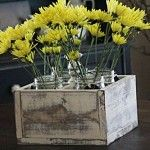 centerpiece from crate and mason jars