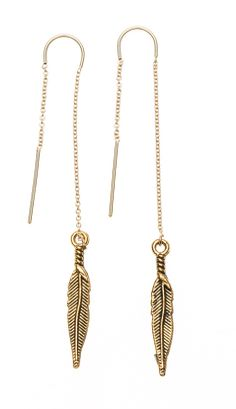 Feather pull through earrings