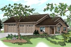 RV Garage with recreation room outbuilding. Plan is a 2280 sq ft Craftsman style, 1 story, 6 car RV garage design with recreation room by Associated Designs. Quality house plans, floor plans and blueprints. Garage Workshop Plans, Garage Floor Plans, House Floor Plans, Garage Apartment Plans, Garage Apartments, Garage Remodel, Craftsman Style House Plans, Thing 1, Best House Plans