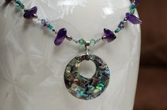 CLEARANCE Necklace Abalone Pendant Amethyst LindyLeeTreasures.etsy.com by LindyLeeTreasures