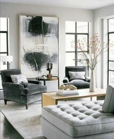 Interior design of living room, combining minimalistic, contemporary furniture styles with gothic wall paper. Description from pinterest.com. I searched for this on bing.com/images