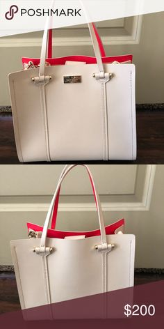 Kate Spade purse Light tan with coral insides! Like new, only used less than a handful of times kate spade Bags Shoulder Bags