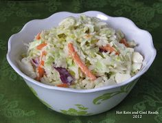 Hot Eats and Cool Reads: Creamy Coleslaw with Pickles Recipe. Omit onion, add a little celery seed and try it next time with regular vinegar instead of apple vinegar.