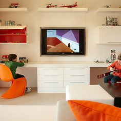 KIDS ACTIVITY: B and G Design - boy's rooms - shared desk, boys shared desk, kids shared desk, floating desk, panton chairs, orange panton chairs, tv niche, builtin tv niche, gray sectional, orang pillows, gray and orange kids room, gray and orange playroom, , Tangerine Panton Chair,
