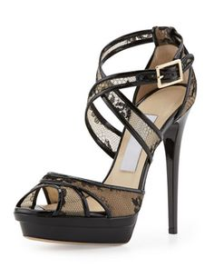 Kayak Crisscross Lace Platform Sandal by Jimmy Choo at Neiman Marcus. Discovered and pinned by rpenrose