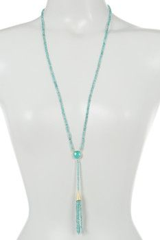 18K Gold Plated Sterling Silver & Sea Green Chalcedony Tassel Necklace