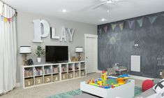 The montgomery house playroom - basement daycare ideas, boys playroom ideas Kids Playroom Storage, Playroom Organization, Playroom Design, Playroom Decor, Children Playroom, Playroom Stage, Boys Playroom Ideas, Finished Basement Playroom, Basement Play Area