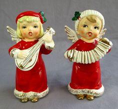 Vtg Napco Christmas Holiday Musician Angel Figurines 1957