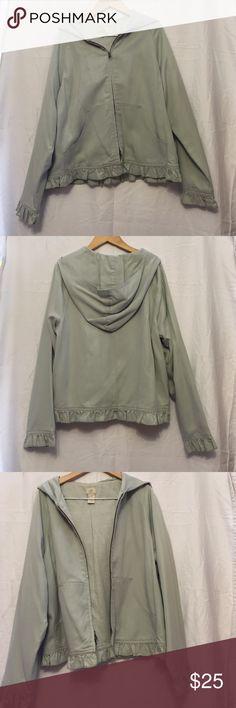 New JJill zip jacket With lining ruffles on bottom and sleeves vintage look J. Jill Jackets & Coats