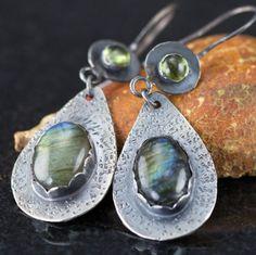 Labradorite Sterling Earrings  Labradorite and Peridot by PPennee
