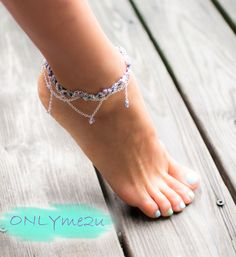 Summer Must Have Silver Blue Anklet. $15.00, via Etsy.