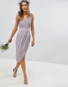TFNC | TFNC Wrap Midi Bridesmaid Dress With Embellished Shoulder