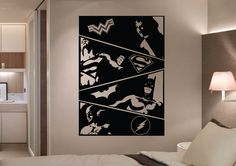 The Justice League Comic Strip 4 Panel Wall Art Stickers is a simple easy to way create an amazing unique feature starring all of your favorite DC Comics Heroes