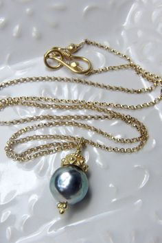 Tahitian Pearl Necklace / South Sea Pearl by AlisonStorryJewelry, $125.00