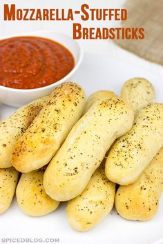 These Mozzarella-Stuffed Italian Breadsticks are the perfect appetizer for a college basketball tournament party!