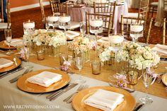Blush, Gold, Silver and White wedding reception at The Shores Resort and Spa in Daytona Beach, FL