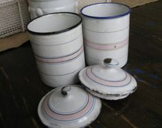 White and Pink French Enamelware Canisters Petite Size