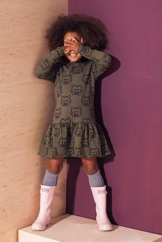 Sukienka dziecięca NIEDŹWIEDŹ khaki - mamatu - Sukienki dla dziewczynek