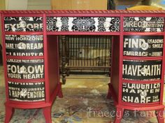 Custom Painted Vintage Desk  MADE TO ORDER    decoupage inspirational quotes black white red news print