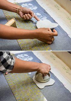 Jen Hewett's block printing on fabric process