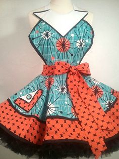 Jane Jetson Pin Up Apron Atomic Age Costume by SassyFrasCollection