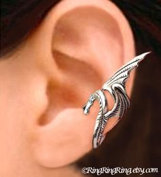 Sea Serpent Silver ear cuff earring - wing snake dragon jewelry - 925 sterling Left earcuff for men and women 082212. $45,00, via Etsy.