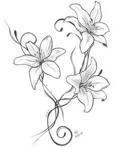 by daevilmagiciano on DeviantArt Tattoo Drawings, Body Art Tattoos, Sleeve Tattoos, Tattoos Skull, Bow Tattoos, Cross Tattoos, Lilies Drawing, Lilly Flower Drawing, Lily Flower Tattoos