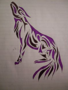 Purple and Black Tribal Wolf by Wulvar on DeviantArt