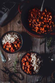 Ayurvedic sweet potato and pumpkin chilli - Sweet Potatoes Pumpkin Risotto 🌼 PS. Vegetarian Breakfast, Vegetarian Chili, Vegetarian Recipes, Chili Recipes, Diet Recipes, Healthy Recipes, Slow Cooking, Pumpkin Chilli, Sweet Potato Chilli
