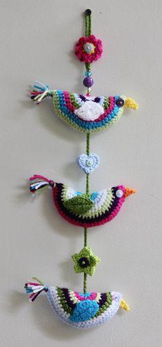 Handmade Crochet Bird Wall Hanging / Home Decoration / Garland. Trio of Crochet Birds. Original and Unique. Bright & Colourful. 42cm long. by DAISYandARTHUR on Etsy
