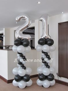 Birthday Foil Number Balloon Floor Columns